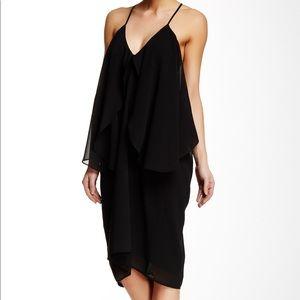 NWT! Solemio Black Chiffon Ruffle Detail Dress